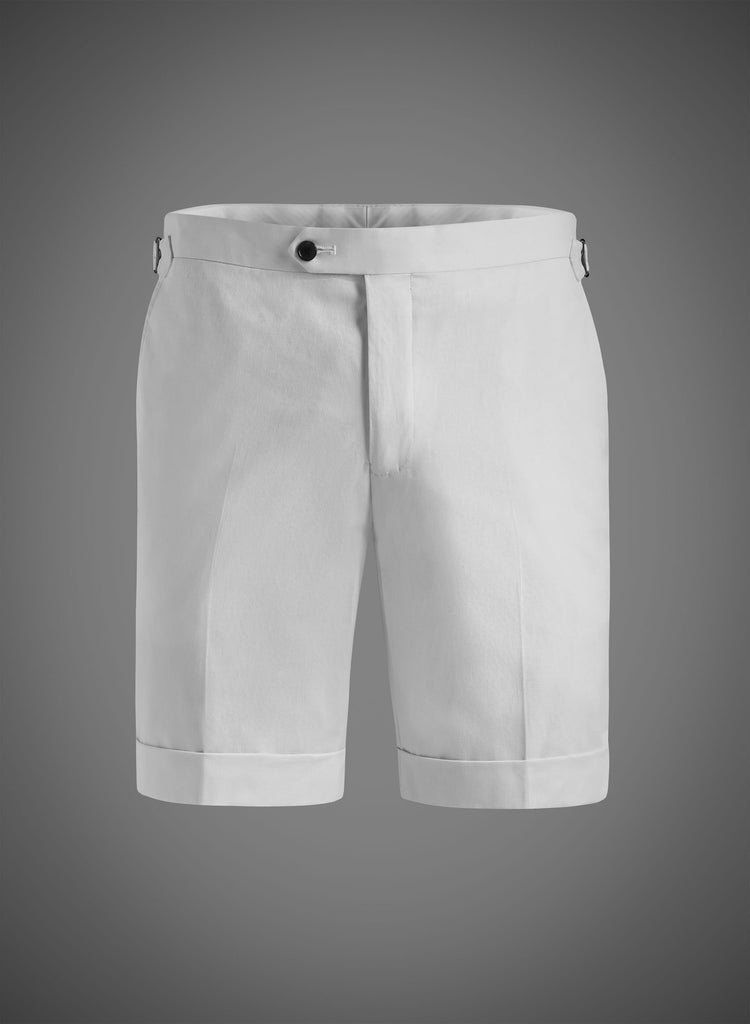 Fitted Short With Side Tabs & Cuffed Hem-White(JBW007S)