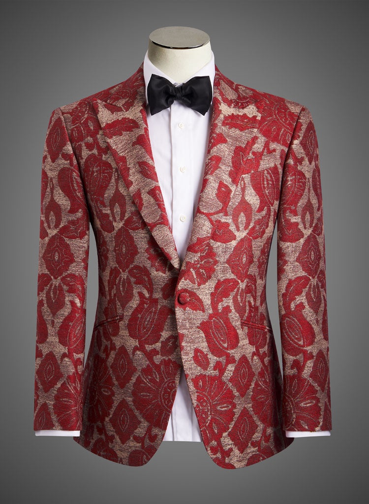 Designer Jacket with Peak Lapel in Red Brocade