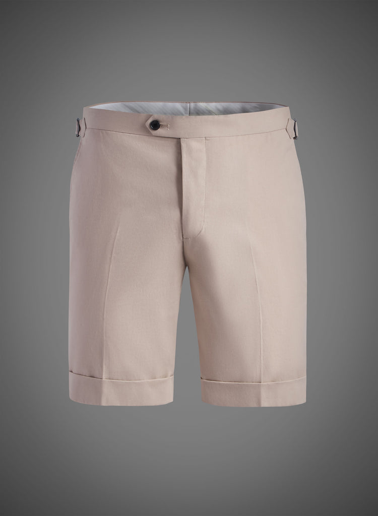 Fitted Short With Side Tabs & Cuffed Hem-Taupe(JBW007S)