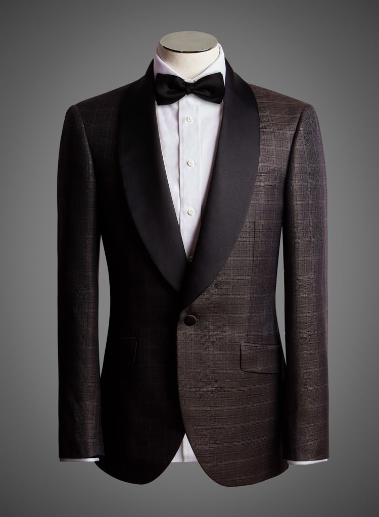 BW SIGNATURE JACKET - Lustrous Check w/ Satin Shawl Lapel (EKT37086)