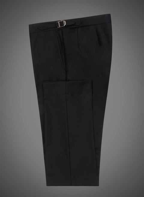 Flat front pant with side tabs - Black (DEE1003)