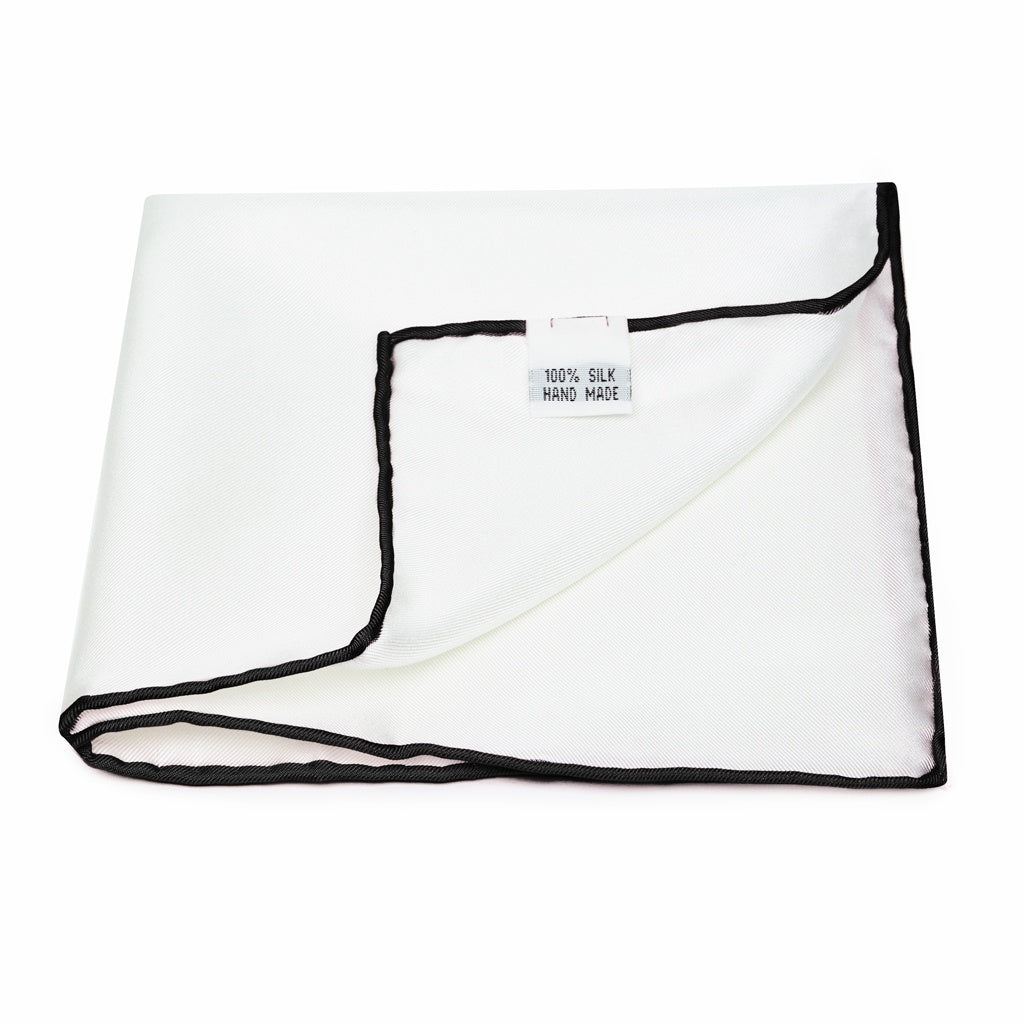 Silk Pocket Square in White with Black Edge