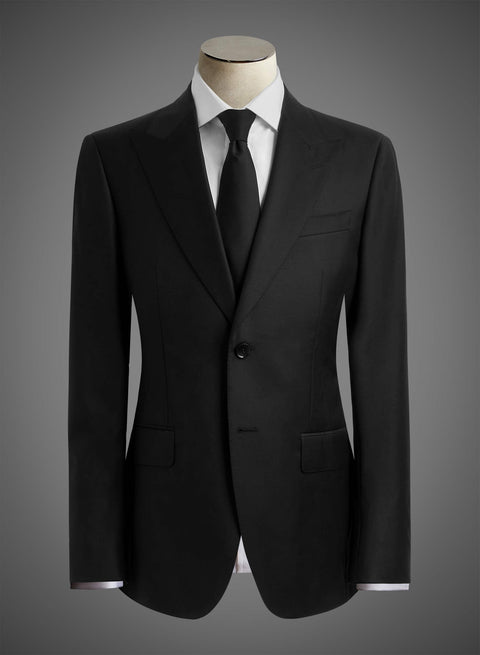 2 button 9.3cm Peak lapel jacket with 0.15 Pick stitching - Black (DEE1003)
