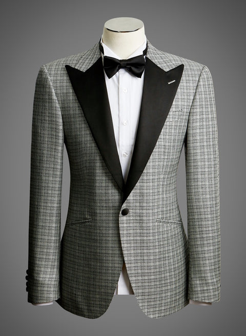 BW SIGNATURE JACKET - Black & White Textured Check w/ Satin Peak Lapel