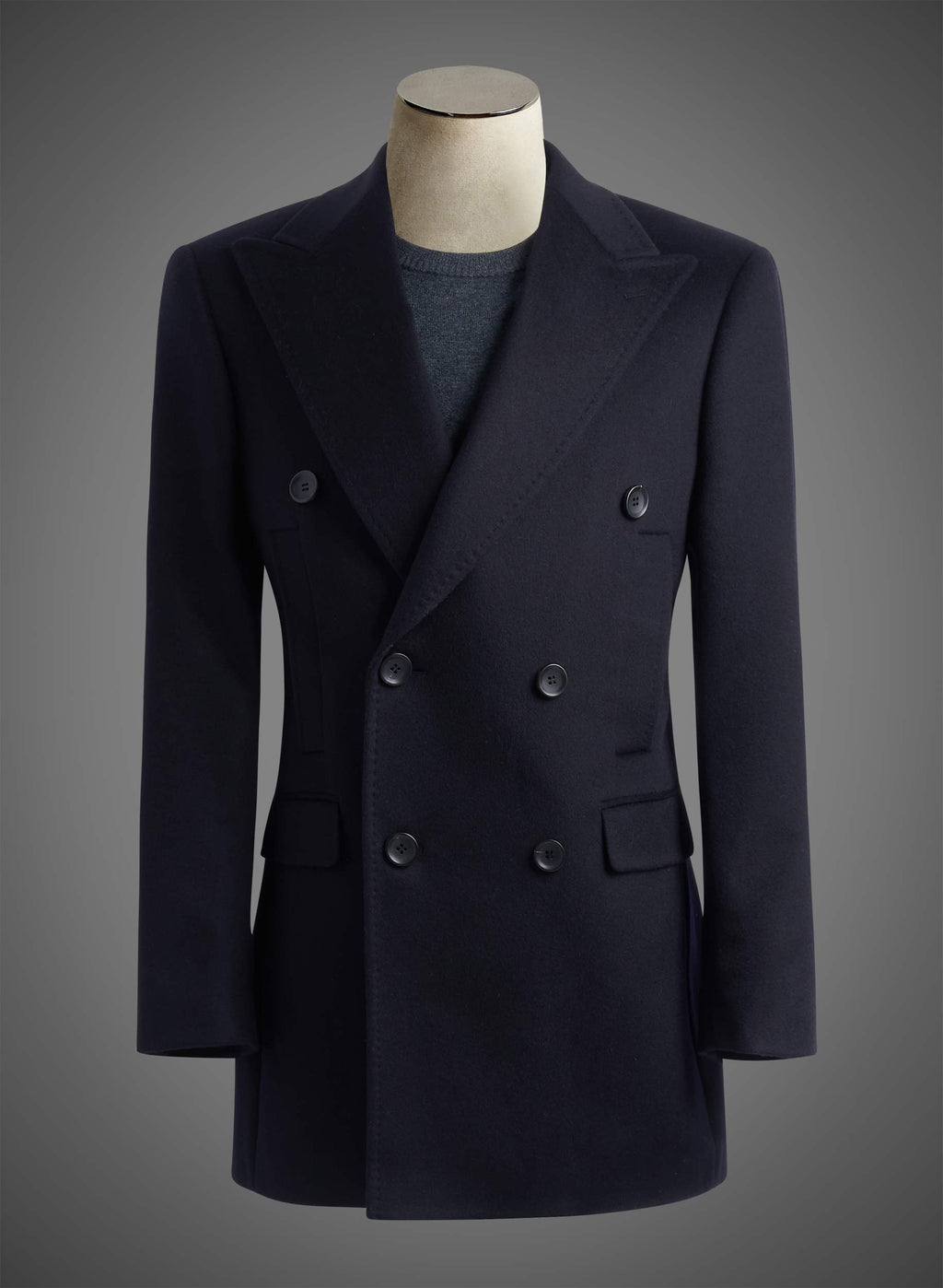 6 button Double breasted Peak lapel coat - Navy (DBN840A)
