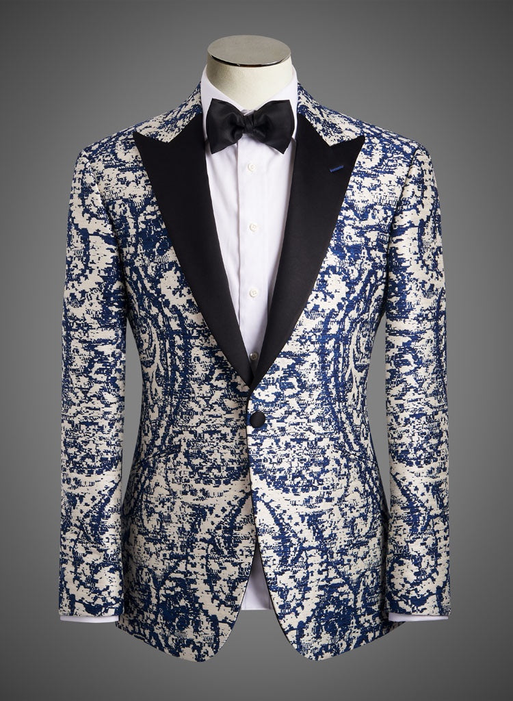 BW SIGNATURE JACKET - Blue and Wht Pixel w/ Satin Peak Lapel (SKIPJACK)