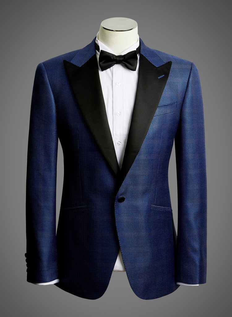 Designer Jacket with Satin Peak Lapel in Blue Micro Check