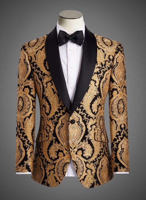 Designer Jacket in Black and Gold Paisley with Shawl Lapel