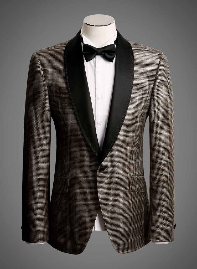 BW SIGNATURE JACKET - Brown Check w/ Satin Shawl Lapel
