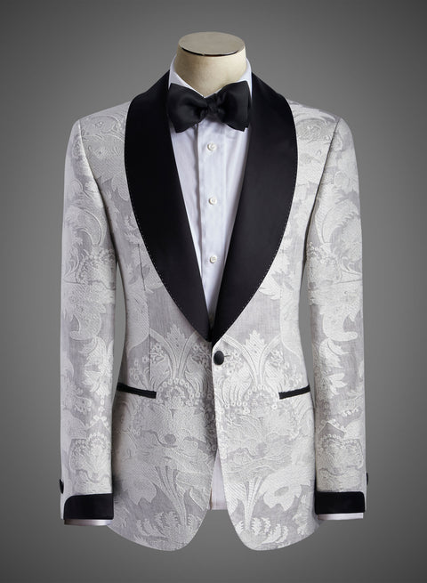 BW SIGNATURE JACKET - Satin Shawl Lapel  (Civray Damask Col Grey)