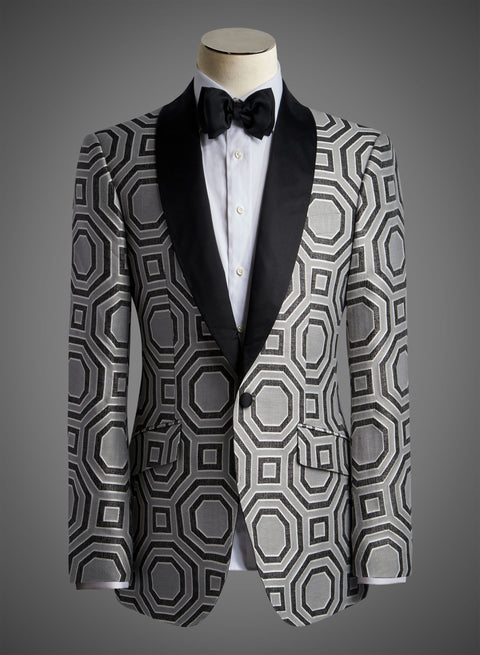 Designer Jacket with Satin Shawl Lapel in Charcoal