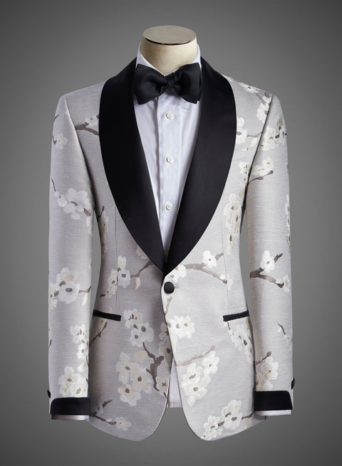 Designer Jacket with Satin Shawl Lapel in Cherry Blossom