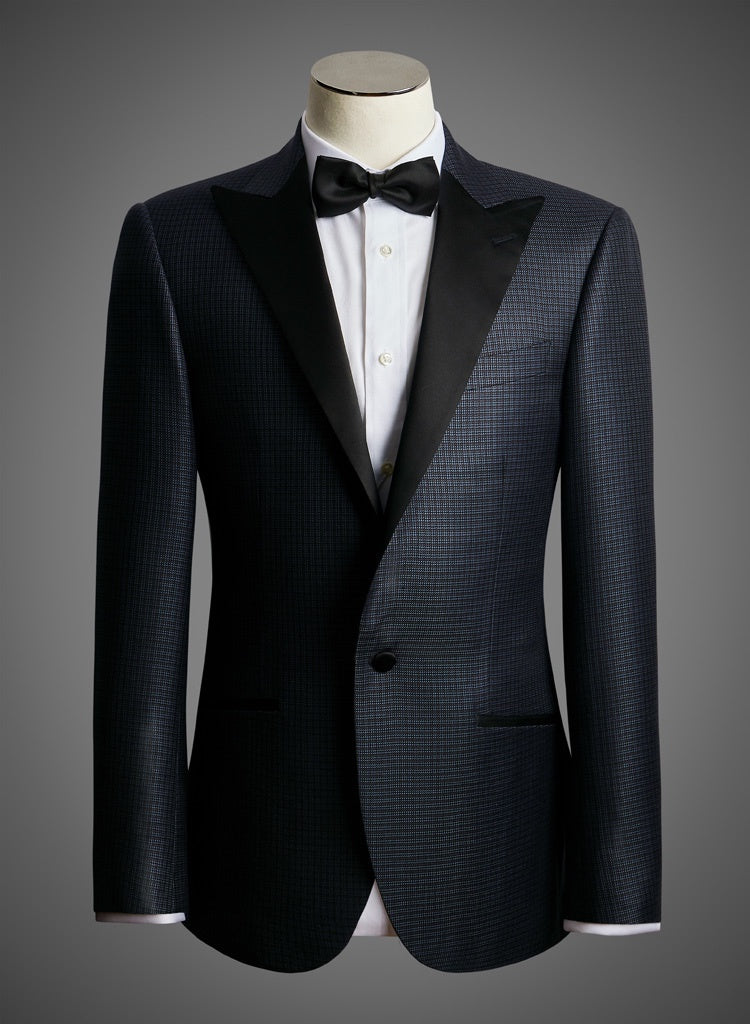 BW SIGNATURE JACKET - Lustrous Micro Check w/ Satin Peak Lapel (EKT37071)