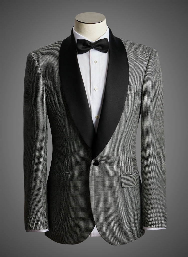 Designer Jacket with Satin Shawl Lapel in Melange Black Cream & Grey
