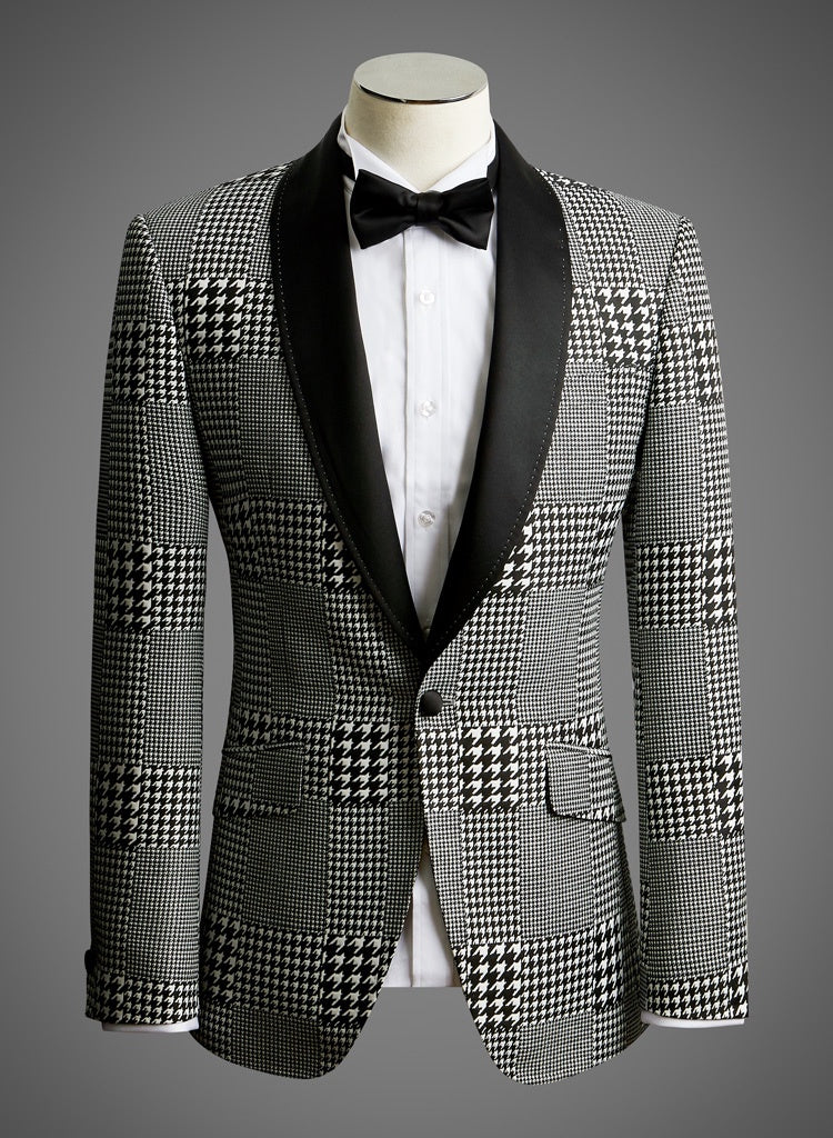 Designer Jacket with Satin Shawl Lapel in Black & White Houndstooth