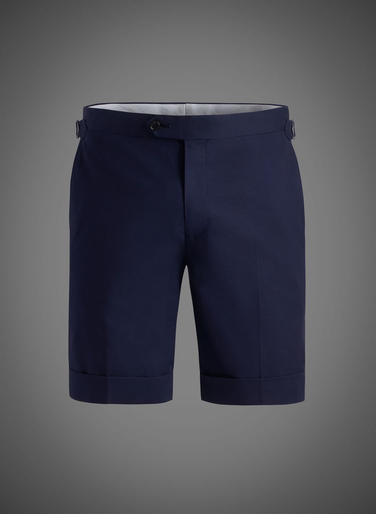 Fitted Short With Side Tabs & Cuffed Hem- Navy(JBW007S)