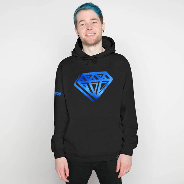 DanTDM Graffiti Blue Foil Diamond Hoodie - Black