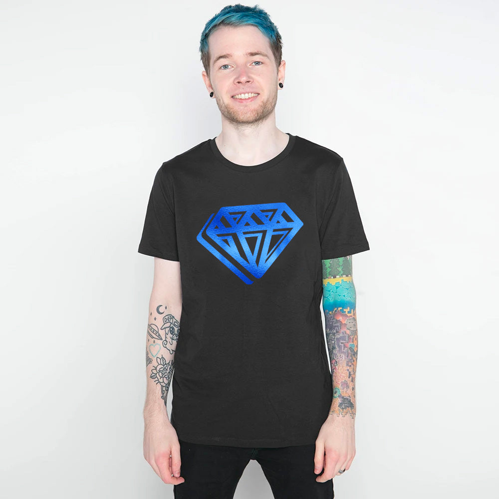 DanTDM Graffiti Blue Foil Diamond T-Shirt - Black