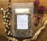 womb embrace /  a gentle + tender apothecary tea blend to nourish, support and promote harmonious flow of female energy, tone/strengthen the uterus, and help regulate hormones.
