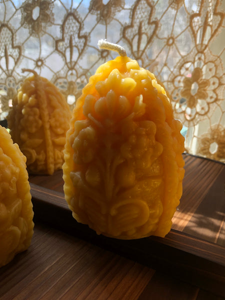 hand poured beeswax fabergé style egg candles