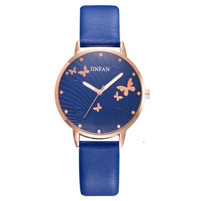Printed butterfly luxury women fashion watches simple