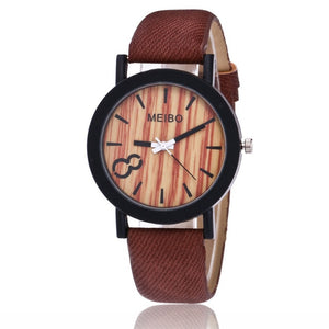 MEIBO Modeling Wooden Quartz Watch Casual Wooden Color Leather Watch