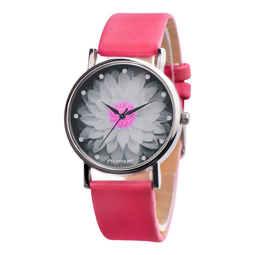 New Fashion Ladies Watch Womens Flower Casual Leather