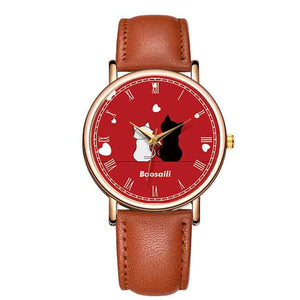Cute Cat Watch Leather Band Quartz Watch Lady Roman