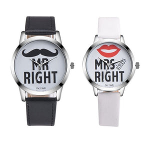 Fashion Beard Lips Pattern Couple Quartz Wristwatches