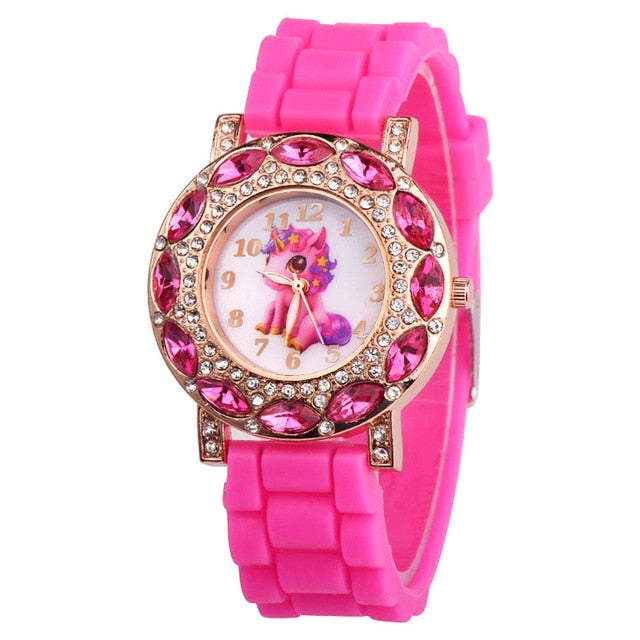 Lovely Pink Unicorn Children Wrist Watches Diamond Cartoon