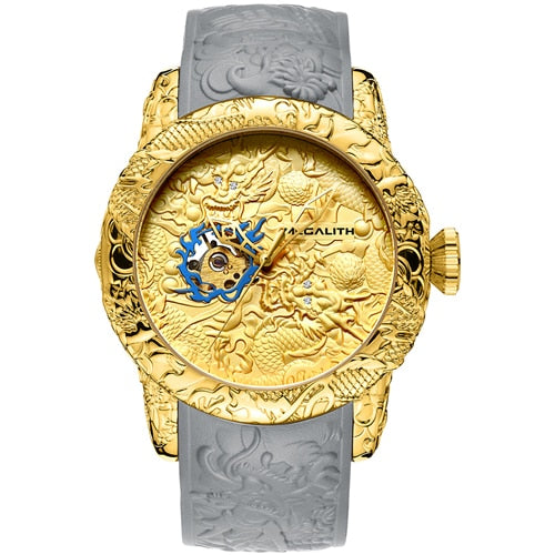 MEGALITH Fashion Gold Dragon Sculpture Watch Men