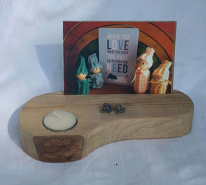 Wooden card & candle holder.