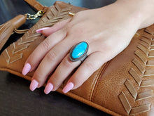 Load image into Gallery viewer, Light Blue Kingman Oval Adjustable Ring