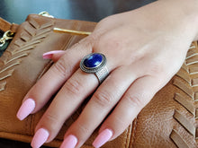 Load image into Gallery viewer, Lapis Lazuli Oval Adjustable Ring