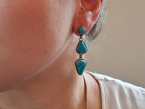 Kingman Three Stone Drop Earrings