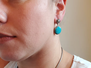 Kingman Turquoise Round Drop Earrings