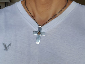 Spacecraft Silver and Bronze Cross Pendant