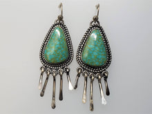 Load image into Gallery viewer, Light Green Kingman  Fringe Dangle Earrings