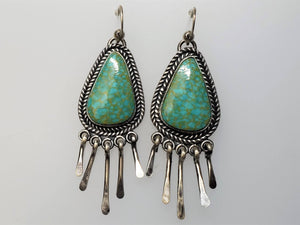 Light Green Kingman  Fringe Dangle Earrings