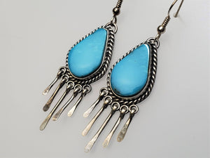Sky Blue Kingman  Fringe Dangle Earrings