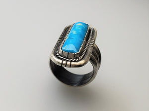 Light Blue Kingman Long Rectangle Ring