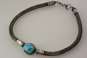 Birdseye Kingman Turquoise Celtic/Viking Weaved Choker