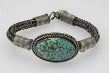 Load image into Gallery viewer, Spider Web Kingman Turquoise Celtic/Viking Weaved Bracelet