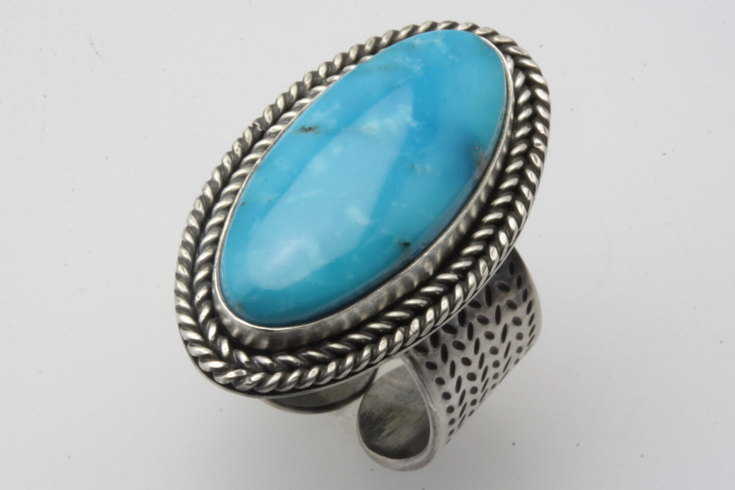Light Blue Kingman Oval Adjustable Ring
