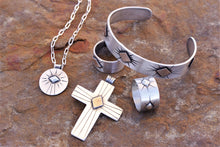 Load image into Gallery viewer, Spacecraft Silver and Bronze Cross Pendant