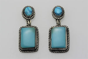 Kingman Turquoise Square Drop Earrings