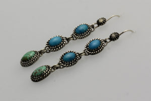 Kingman Carico Lake Three Stone Turquoise Earrings