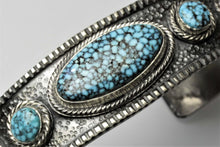 Load image into Gallery viewer, Kingman Turquoise Three Stone Bracelet