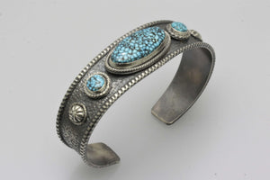 Kingman Turquoise Three Stone Bracelet