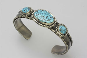 Kingman Turquoise Three Stone Woman's Bracelet
